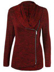 Plus Size Side Zipper Heather Long Jacket