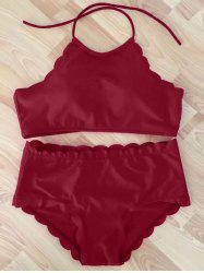 High Neck Scalloped Halter Bikini Set - WINE RED L