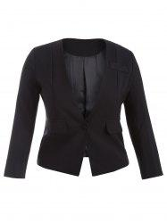 Plus Size One Button Blazer - BLACK