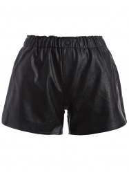 Plus Size Button Decorated Faux Leather Shorts -