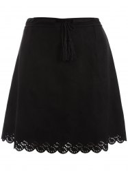 Plus Size Tie Front Suede Scalloped Skirt - BLACK