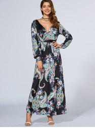 Plunging Neck Bohemian Maxi Dress -