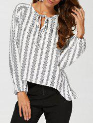 Tie Asymmetrical Peasant Blouse - WHITE XL