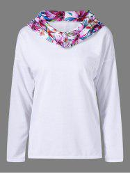 Floral Print Plus Size Pullover Hoodie - WHITE XL