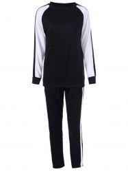 Two Tone Tee With Pants Sport Suit -