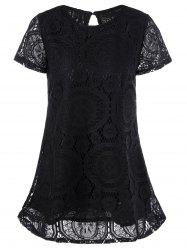 Lace Insert Crochet Short A Line Dress - BLACK