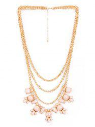 Faux Gem Pendant Layered Sweater Chain -