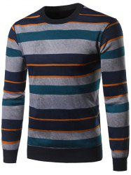 Crew Neck Color Block Spliced Stripe Sweater -