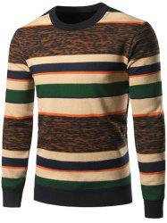 Crew Neck Color Block Leopard Spliced Stripe Sweater -