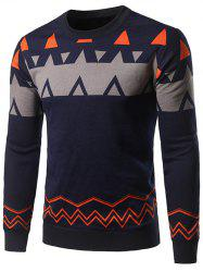Crew Neck Waviness and Geometric Graphic Sweater -