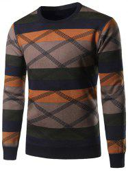 Crew Neck Color Block Splicing Cross Stripe Sweater