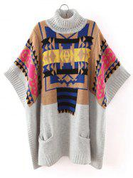 Batwing Sleeve Geometric Oversized Sweater - GRAY ONE SIZE
