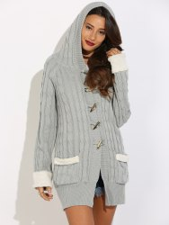 Horn Button Cable Knit Cardigan -