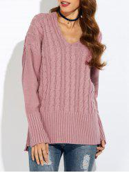 V Neck Drop Shoulder Pullover Cable Knit Sweater - PINK XL