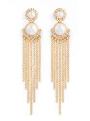 Rhinestone Fake Pearl Chain Tassel Earrings -