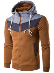 Color Block Splicing Zip-Up Hoodie capuche - Camel