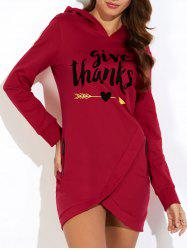 Hooded Letter Print Asymmetric Sweatshirt Dress - BURGUNDY S