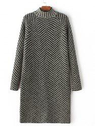 Long Sleeve Zig Zag Sweater Dress - GREEN