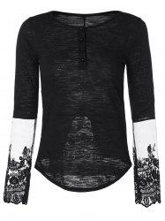 Half Button Lace Insert T-Shirt - BLACK L