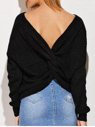 Backless Knotted Draped Sweater - BLACK ONE SIZE