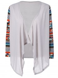 Geometry Print Drape Cardigan - LIGHT GRAY M