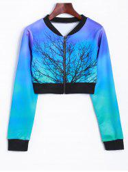 Tree Zip Up Cropped Sweatshirt -