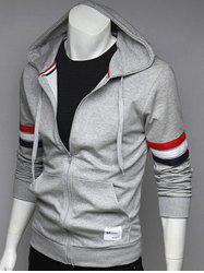 Zip Up Pocket Front Striped Sleeve Hoodie - GRAY L