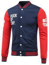Letter Print Color Block Baseball Jacket - BLUE AND RED 2XL