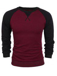Raglan Sleeve Crew Neck Two Tone Sweatshirt -