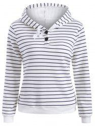 Striped Button Embellished Flocking Hoodie -