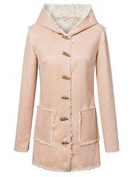 Hooded Sherpa Faux Suede Coat - YELLOWISH PINK L