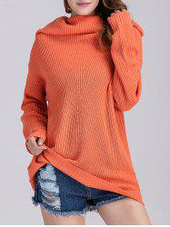 Ribbed Knit Cowl Neck Tunic Sweater