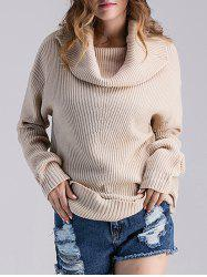 Cowl Neck Ribbed Knit Sweater - BEIGE GREY