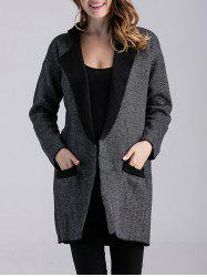 Color Block Knitted Cardigan with Pockets - DEEP GRAY