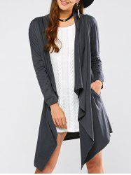 Draped Front Longline Cardigan - GRAY