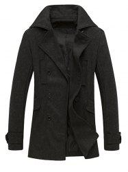 Pocket Button Tab Cuff Epaulet Design Pea Coat -