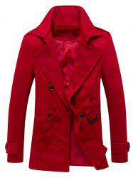 Epaulet Design Back Vent Belted Trench Coat - RED