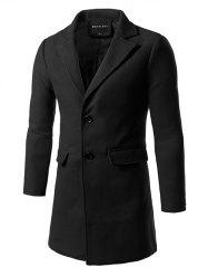 Back Vent Flap Pocket Single Breasted Woolen Coat - BLACK