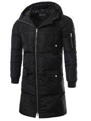 Multi Pocket Zip Up Hooded Padded Coat