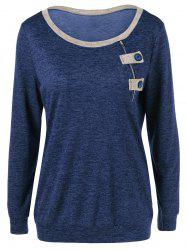 Contrast Trim Button Decorated T-Shirt - CERULEAN XL