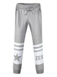 Pocket Drawstring Graphic Jogger Pants - GRAY 34