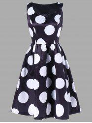 Polka Dot Print Fit and Flare Dress -