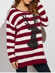 Christmas Button Back Striped Sweater - STRIPE ONE SIZE(FIT SIZE XS TO M)