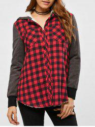 Plaid Patchwork Fleece Hooded Jacket -