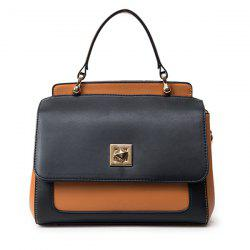 Twist Lock Closure Color Block Vintage Crossbody Bag