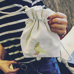 Embroidered Drawstring Canvas Crossbody Bag