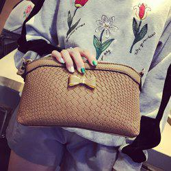 Zig Zag Embossing Bowknot Crossbody Bag - COFFEE