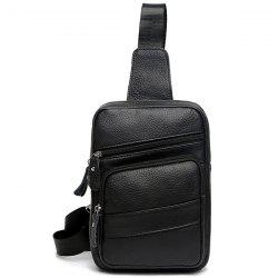 Faux Leather Vintage Chest Pack - BLACK