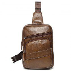 Faux Leather Vintage Chest Pack - COFFEE
