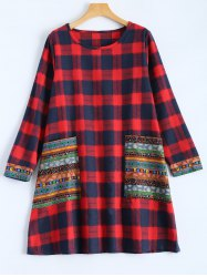 Tribal Print Plaid Panel Dress - RED 2XL